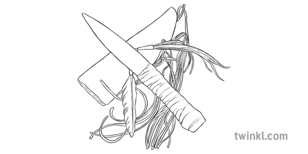 Native American Knife Black And White Illustration Twinkl