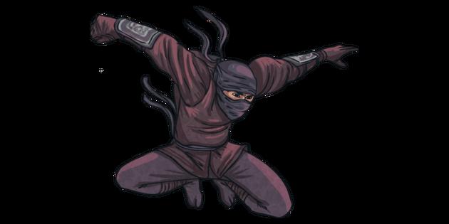 Ninja Jumping Japanese Warrior Martial Art Mps Ks2 Illustration Twinkl