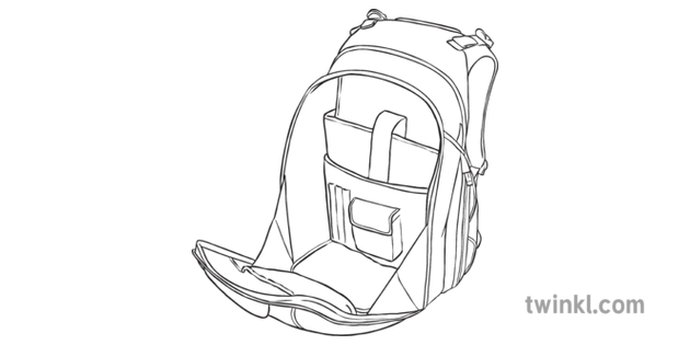 Open Backpack Rucksack Ks2 Black And White Illustration Twinkl