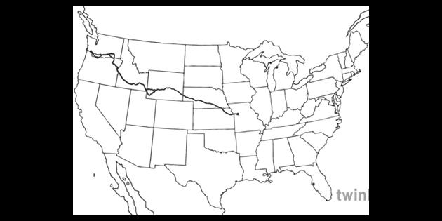 Oregon Trail Map North America US Cartography United States ...
