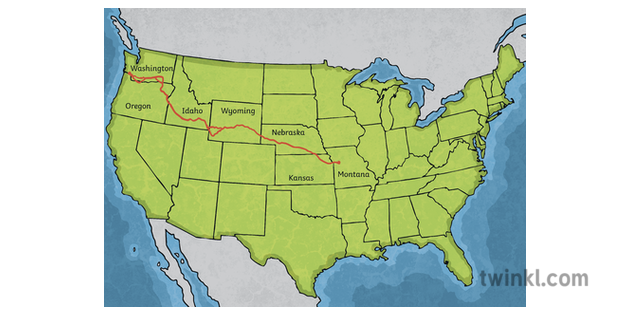 Oregon Trail Map Labelled North America US Cartography ...