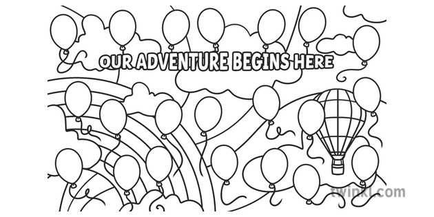 Our Adventure Begins Here Colouring Page Collaborative Sky ...