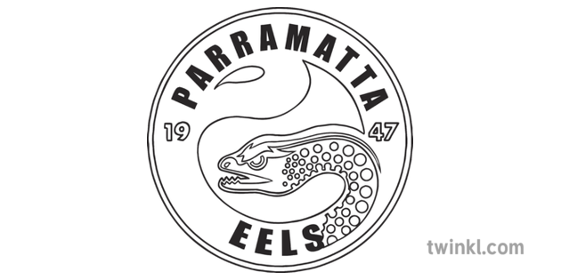 Parramatta Eels National Rugby League Team Logo Sports Australia Ks1 Black