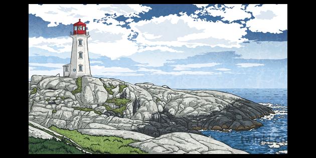 Peggys Cove Landscape Coast Sea Lighthouse Rocks Canada Topics English Ks2