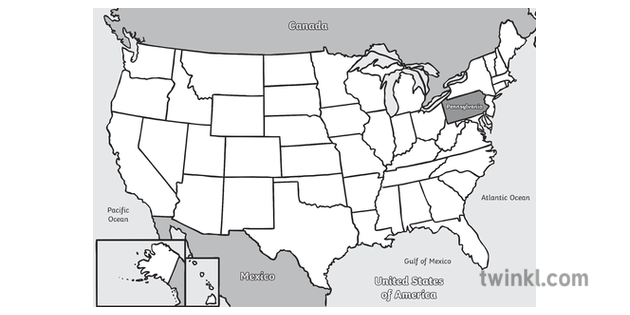 Us Map Black White Pennsylvania Within the USA Map Black and White Illustration   Twinkl