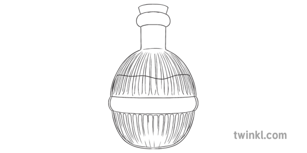 Pink Potion Bottle General Magic Spell Halloween Secondary Black And White