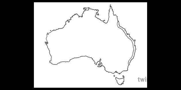 Australia Map Ks1.Plain Australia East Coast Map Ks1 Bw Rgb Illustration Twinkl