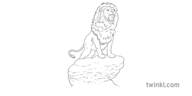 Powerful Lion Standing on Rock Roaring Carnival of the