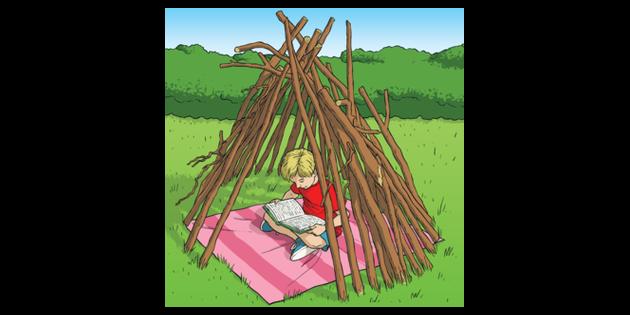 Reading Den Summer Sticks KS1 2 Illustration - Twinkl