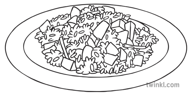 Rice And Veg Healthy Food Vegetarian Plate Ks1 Black And White Illustration