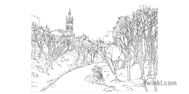 River Kelvin Landscape Water City Cathedral Trees Nature Background Mps Ks2
