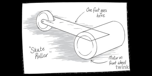 Roller Skate Board Design Idea Sketch Drawing English Ks3 Bw Rgb