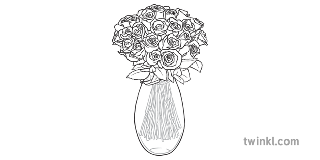 Roses In Vase Black And White Illustration Twinkl