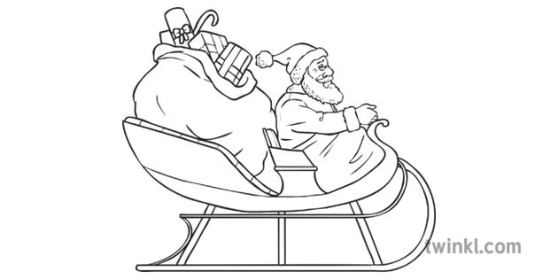 Santa in His Sleigh Black and White Illustration - Twinkl