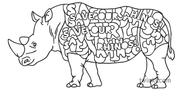 Save Our Rhinos Colour by Numbers Colouring Page Art ...