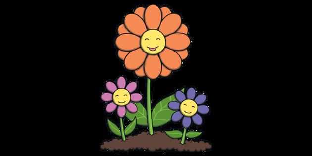 Smiling Flowers Cartoon Plants Mothers Day KS1 Illustration