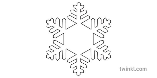 white snowflake template  Snowflake Template Black and White Illustration - Twinkl