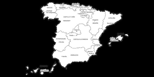 Spain Autonomous Regions Map Black and White Illustration ...