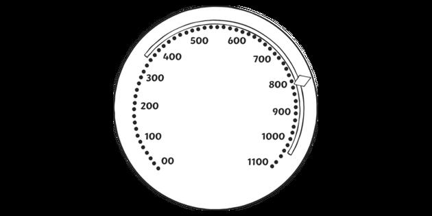 Speedometer TG Game Secondary Bw RGB Illustration - Twinkl