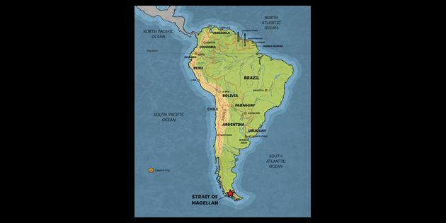 Map Of America Ks2.Straits Of Magellan Map South America Explorer History Ferdinand