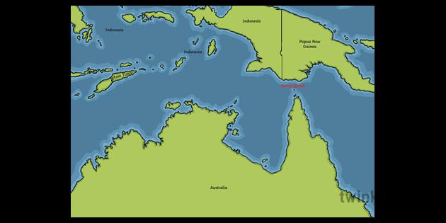 Map Of Australia Ks1.Torres Strait Map Geography Australia Ks1 Illustration Twinkl