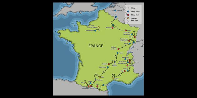 Map Of France Ks1.Tour De France 2019 Map Cycling Race Sports Games Competition Ks1