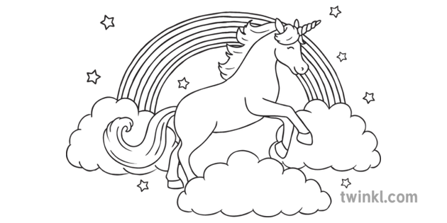 Unicorn And Rainbow Clouds Colouring Pages Parents All Ks1b And White Rgb