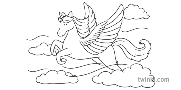 unicorn with wings alicorn flying mythical creature clouds colouring pages unicorn with wings alicorn flying