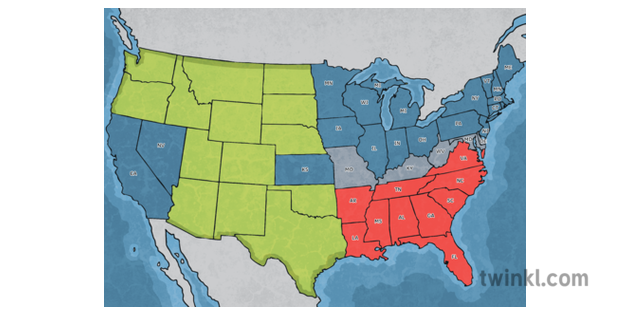 United States Civil War Map Simplified Confederate Union ...