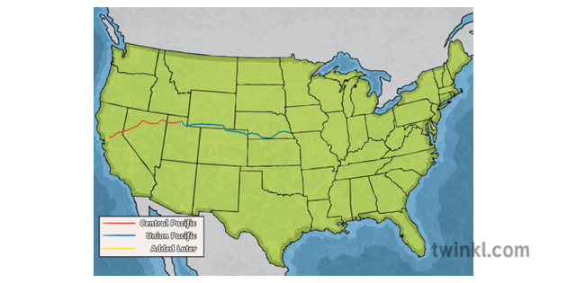 Map Of North America Ks2.United States Transcontinental Rail Map Train Transport Travel North