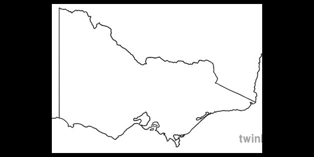 Australia Map Ks1.Victoria State Australia Map Ks1 Bw Rgb Illustration Twinkl
