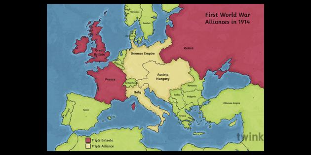 WWI Alliances Map Illustration - Twinkl