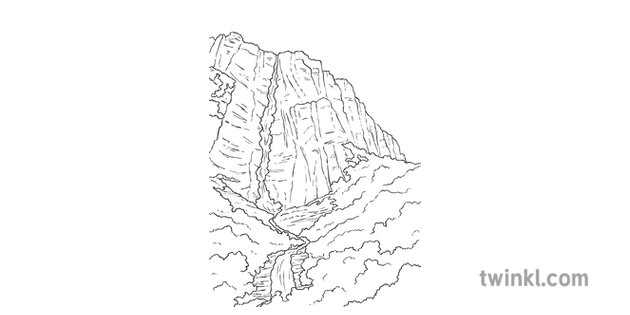 Waterfall Y6 Gymnastics Rivers And Mountains Twinkl Move Pe Ks2 Black And