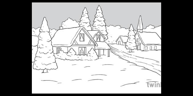 Winter Christmas Scene Black And White Illustration Twinkl