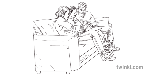 Wonder Dad Mother And Via On Sofa Brown Leather Seating Furniture Living