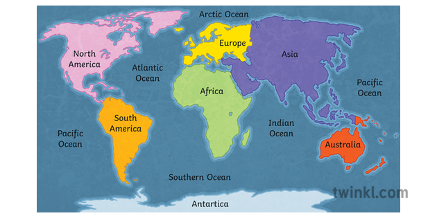 Labelled Map Of The World.World Continents And Oceans Map Labelled Globe Geography Ks3