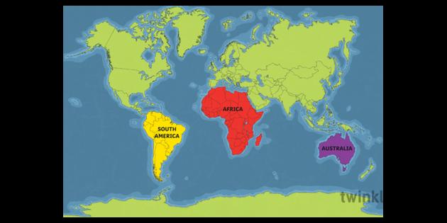 Map Of America Ks2.World Map Australia Africa South America Highlighted Australia