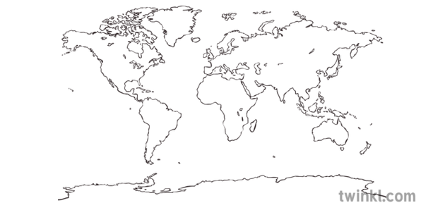 World Map Outline Black and White Illustration - Twinkl
