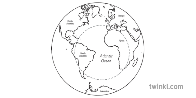 Map Of Africa Ks1.World Map Showing Atlantic Ocean With Labels Geography America