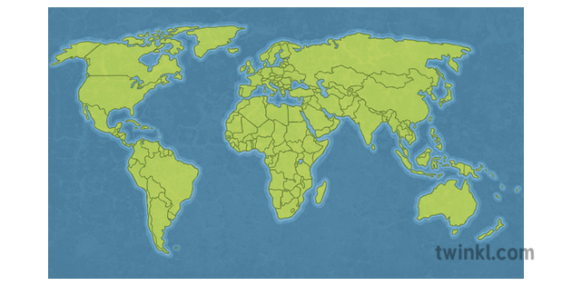 World Map With Country Outlines Unlabelled Atlas Globe Geography Ks3