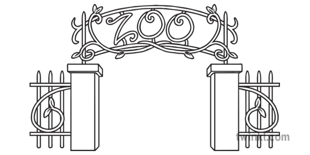 Zoo Entrance Gate Animal Wildlife Planit Ks1 Black And White Rgb