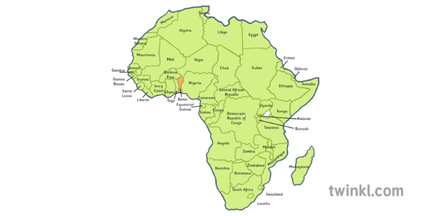 Benin Map In Africa.Africa Map With Benin Highlighted Illustration Twinkl