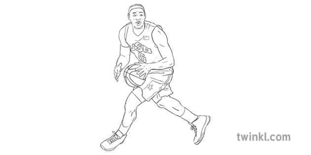 Basketball Player Lebron James Black And White Illustration Twinkl