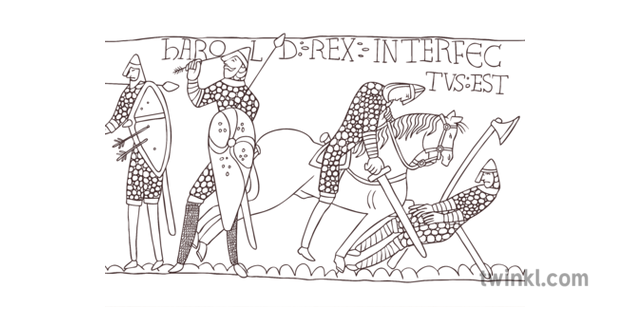 Bayeux Tapestry Black And White Illustration Twinkl