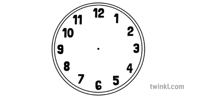 Blank Clock Face Black and White Illustration - Twinkl