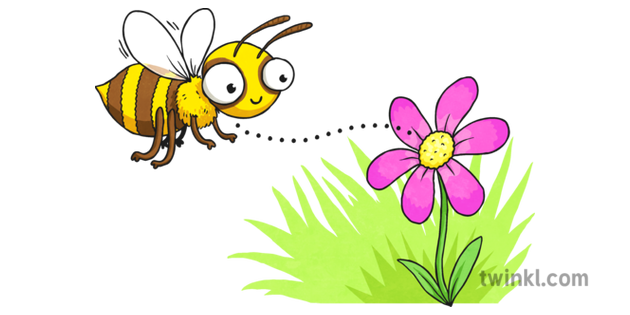 Cartoon Bee And Flower 1 Illustration Twinkl