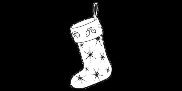 Black And White Christmas Stockings.Christmas Stocking Black And White Illustration Twinkl