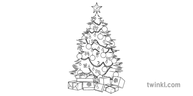 Christmas Tree Illustration.Christmas Tree Presents Card Black And White 1 Illustration