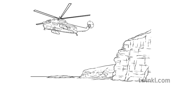 Coastguard Rescue Helicopter Next To Cliff Black And White Illustration
