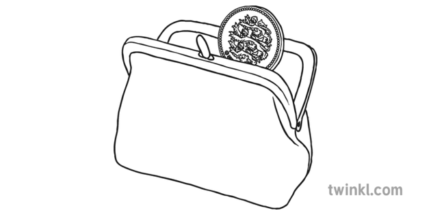 Coin Purse With Pound Coin Black And White Illustration Twinkl